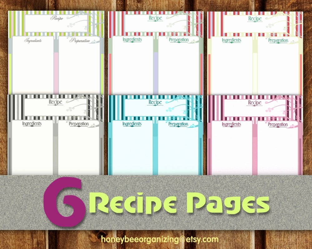 Cookbook Template Pages Inspirational Recipe Pages Instant Download Blank Cooking Book