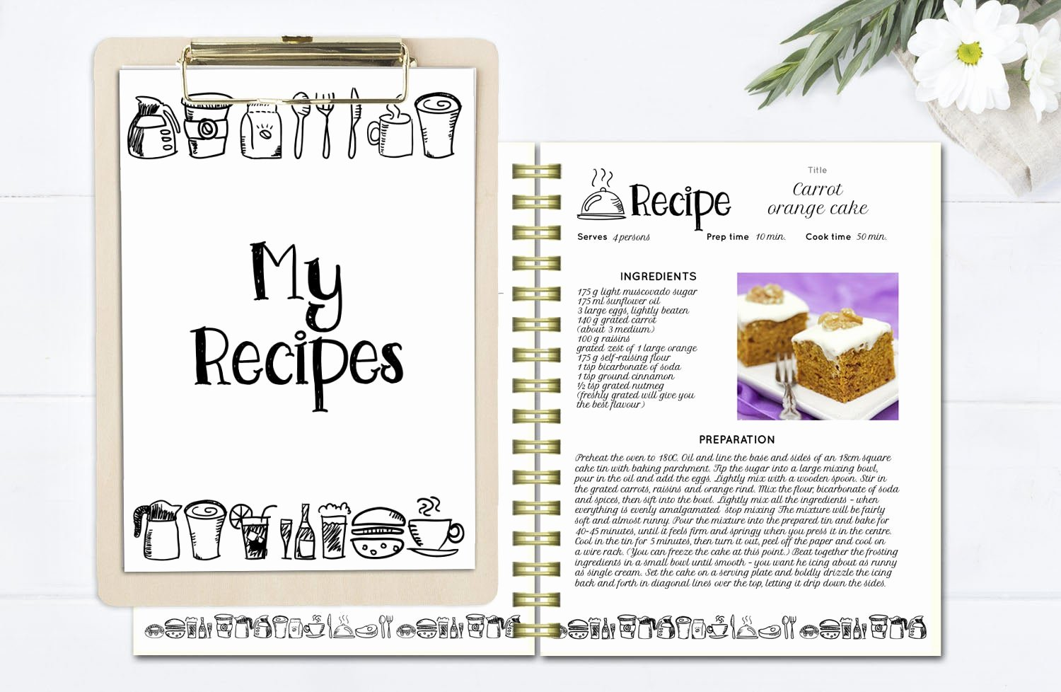 Cookbook Template Pages Luxury Black and White Recipe Book Template Editable Recipe Pages