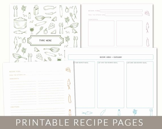 Cookbook Template Pages New Diy Custom Recipe Binder Cookbook Printable Pages 40