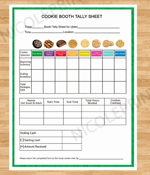 Cookie order form Template Inspirational Cookie Booth Tally Sheet Cookies Can Be Customized