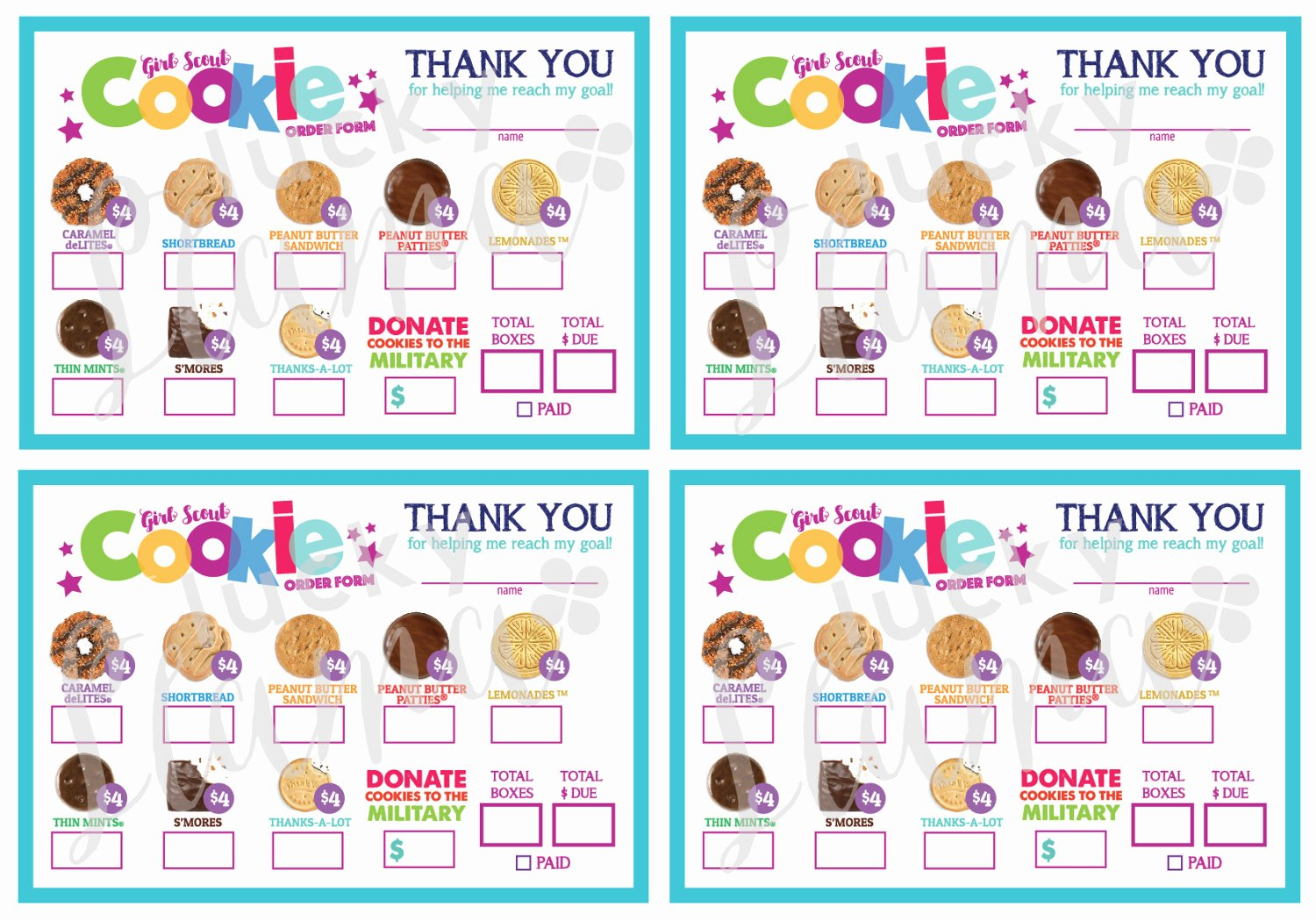 Cookie order form Template Luxury 2018 Mini Girl Scout Cookie order form Printable