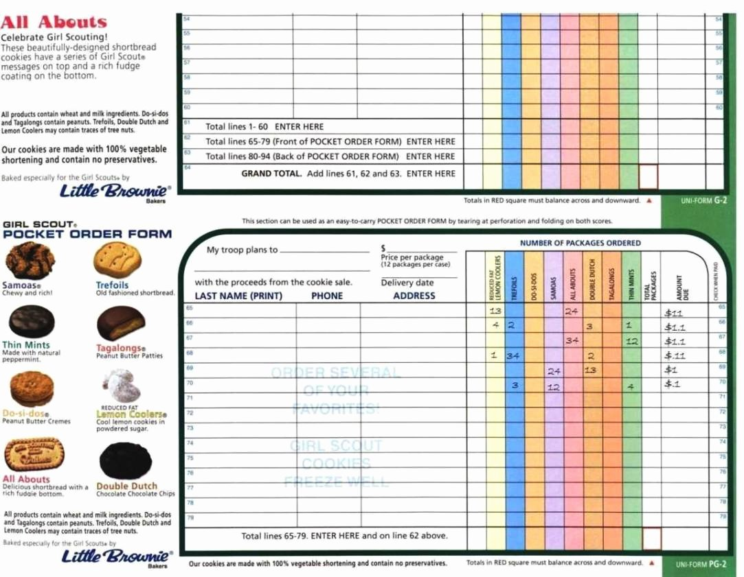 Cookie order form Template Unique Girl Scout Cookie order form Template Sampletemplatess