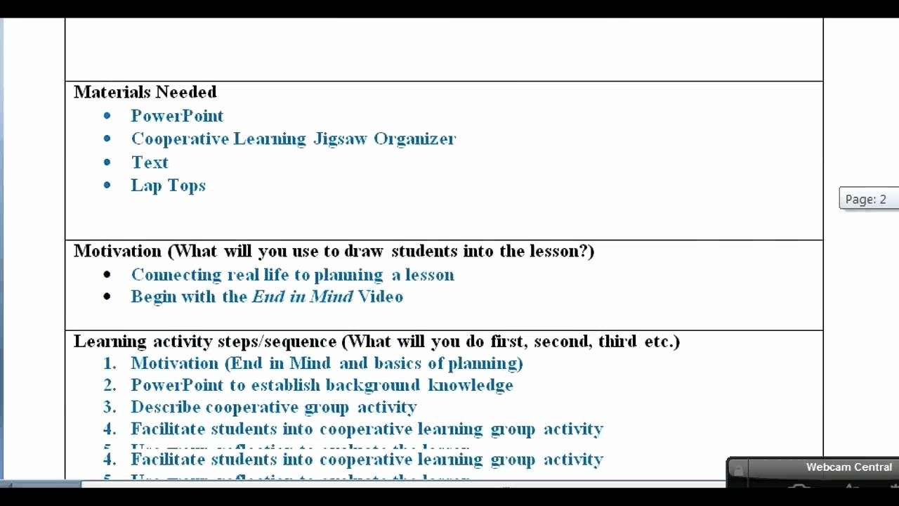 Cooperative Learning Lesson Plan Template Best Of Lesson Plan with Examples Video
