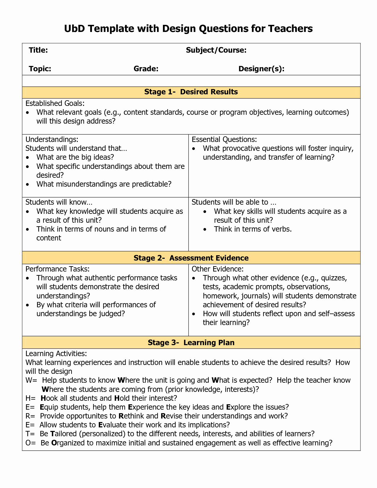 Cooperative Learning Lesson Plan Template Fresh Blank Ubd Template Things for the Classroom
