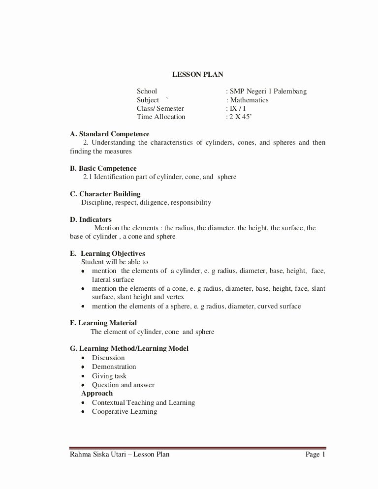 Cooperative Learning Lesson Plan Template Inspirational Lesson Plan 9th Grade Junior High School