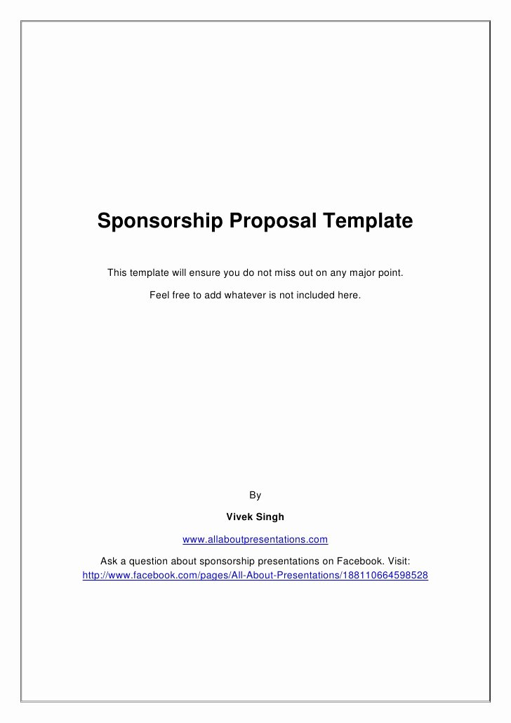 Corporate Video Proposal Template Inspirational Sponsorship Proposal Template