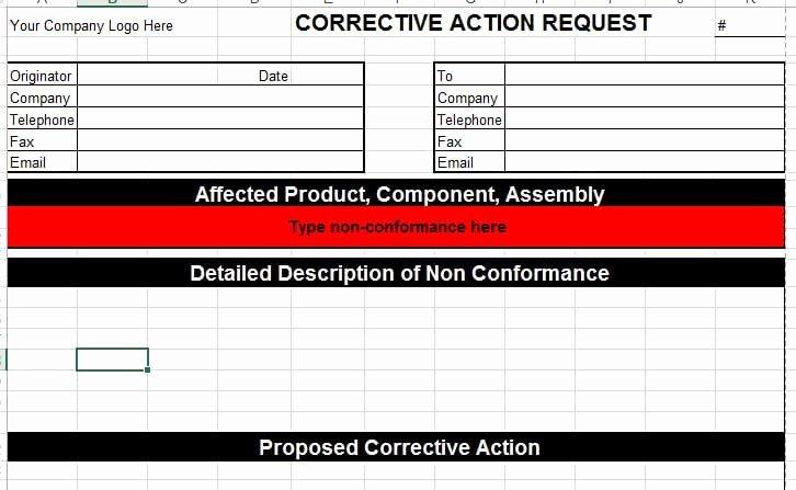 Corrective Action Preventive Action Template Awesome Corrective Action Template for Microsoft Excel