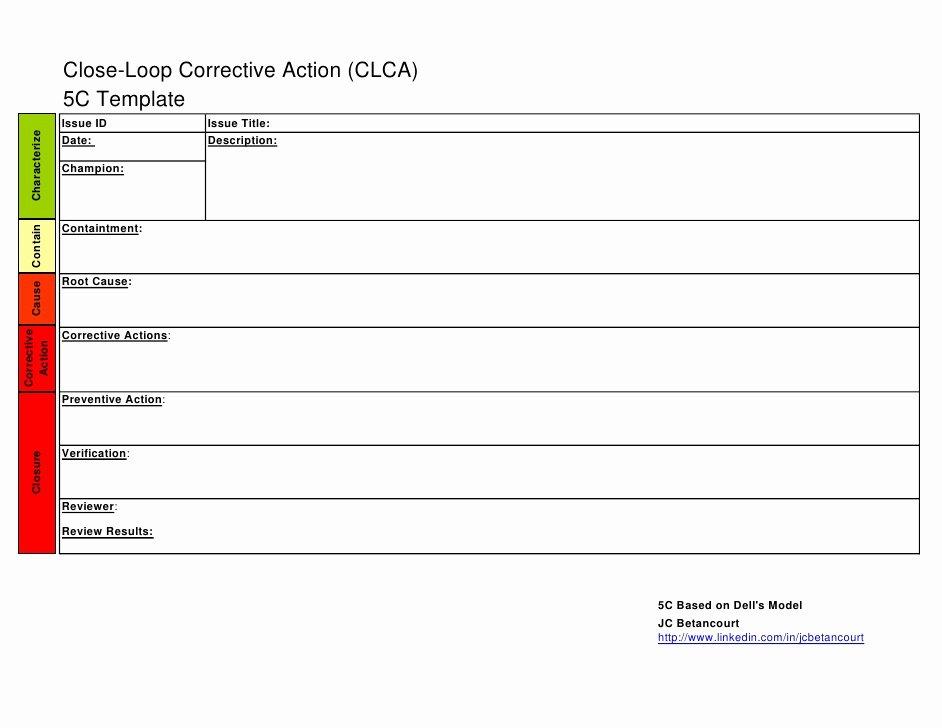 Corrective Action Preventive Action Template Elegant 5 C Template