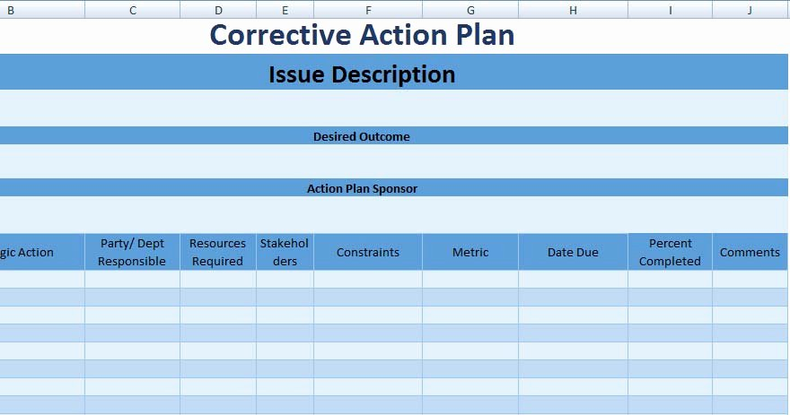 Corrective Action Preventive Action Template Lovely 3 Free Project Action Plan Template Xls Free Excel