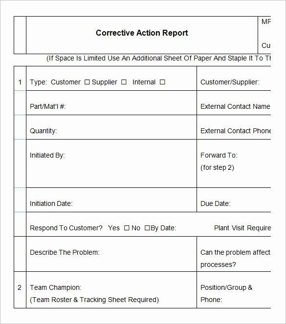 Corrective Action Preventive Action Template Luxury 9 Corrective Action Report Templates Free Word Pdf