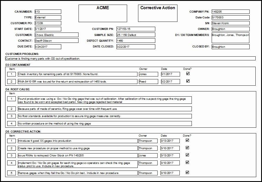 Corrective Action Preventive Action Template Unique Corrective Action forms Implementation and Measurement Tips