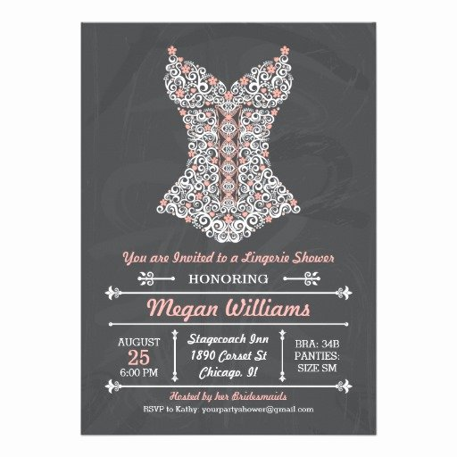 Corset Invitation Template Free Beautiful Chalkboard Lingerie Party Invitation Personalized Invite