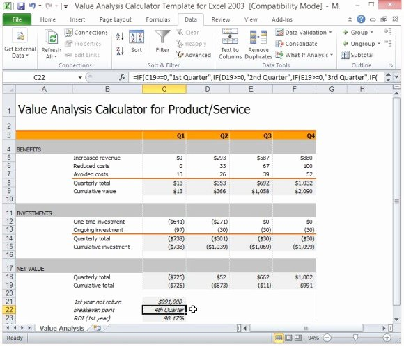 Cost Benefit Analysis Excel Template Lovely Value Analysis Calculator Template for Excel