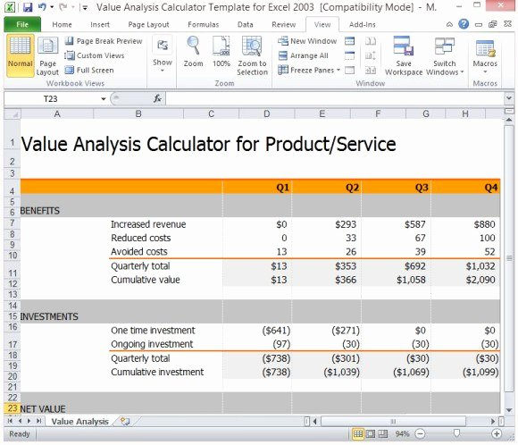 Cost Benefit Analysis Template Excel Microsoft Beautiful Value Analysis Calculator Template for Excel