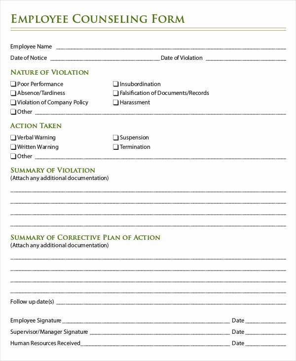Counseling Intake form Template Beautiful Employee Counseling form Template Microsoft Templates