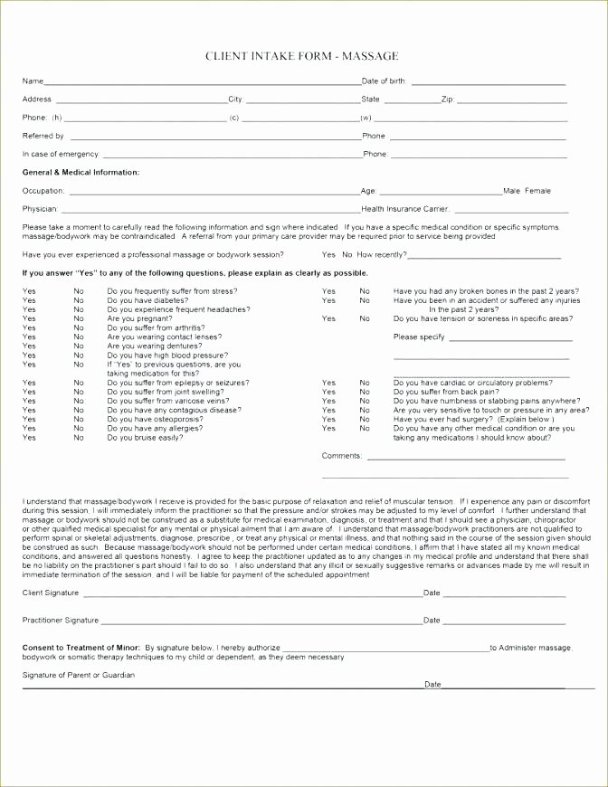 Counseling Intake form Template Fresh Counseling Intake form Template Best forms Templates