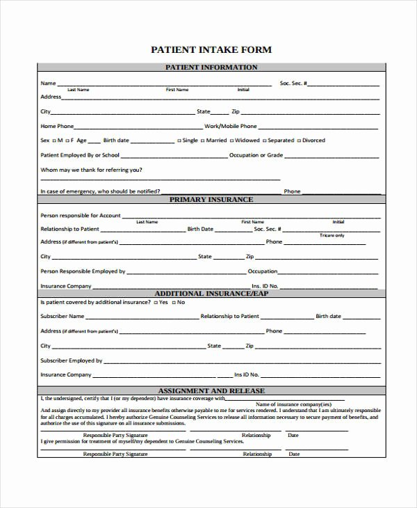 Counseling Intake form Template Unique 48 Counseling form Examples