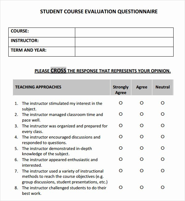 Course Evaluation Template Word Awesome Course Evaluation 4 Free Download for Pdf
