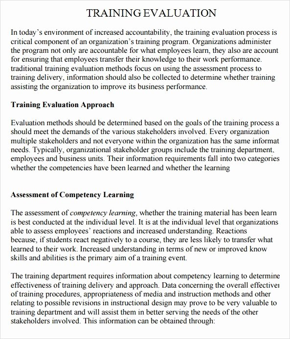 Course Evaluation Template Word Beautiful Training Evaluation 7 Free Download for Word Pdf