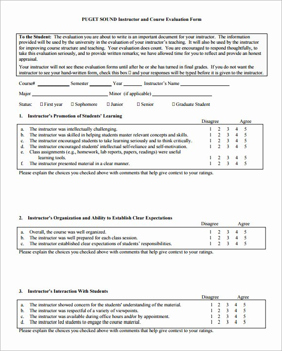 Course Evaluation Template Word Luxury Course Evaluation forms Sample 8 Free Examples format