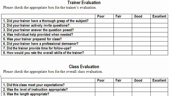Course Evaluation Template Word Luxury Training Evaluation form Template