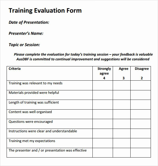 Course Evaluation Template Word New 15 Sample Training Evaluation forms Pdf
