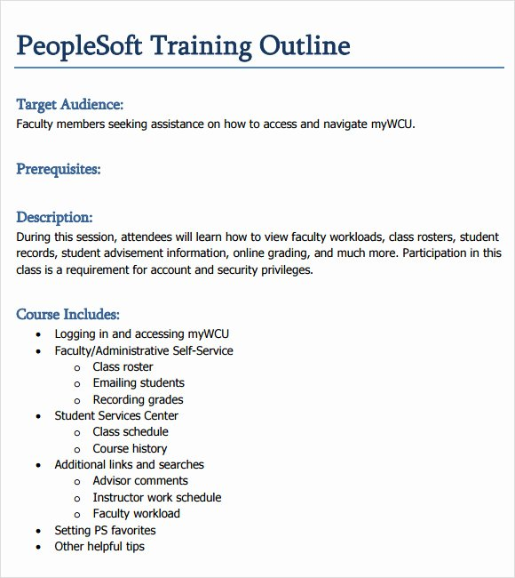 Course Outline Template Word Best Of Training Outline Template 9 Download Free Documents In