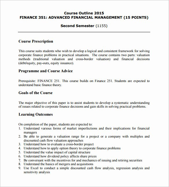 Course Outline Template Word Fresh 14 Training Course Outline Template Doc Pdf