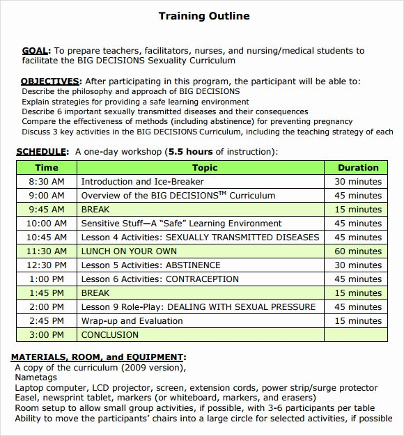 Course Outline Template Word Luxury Training Outline Template 7 Download Free Documents In
