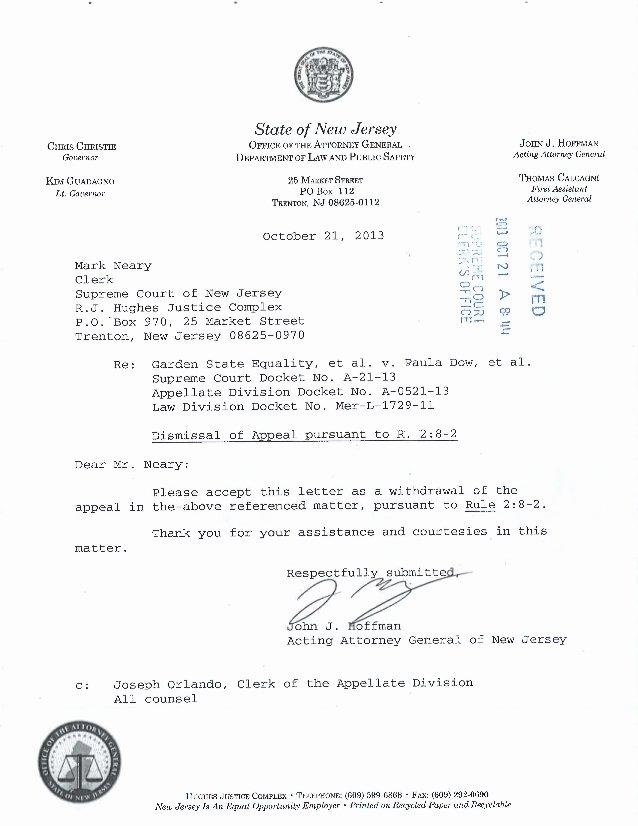 Court Appeal Letter Sample Luxury Nj Marriage Appeal Dismissal Letter