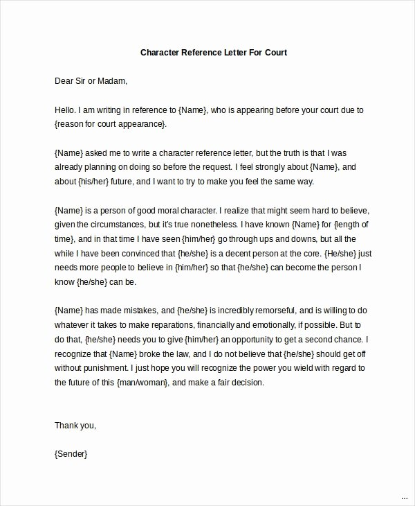 Court Letter format Awesome Awesome Examples Character References for Court