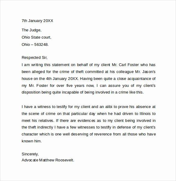 Court Letter format Beautiful 11 Character Letter Templates for Court Pdf Word