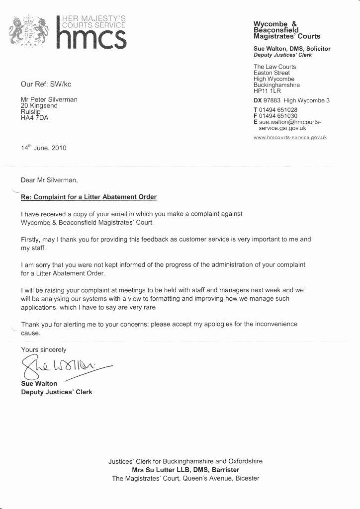 Court Letter format Beautiful M40 Court Letter 14th June 2010