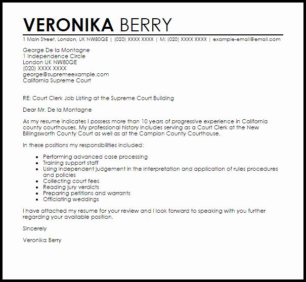 Court Letter format Lovely Court Clerk Cover Letter Sample