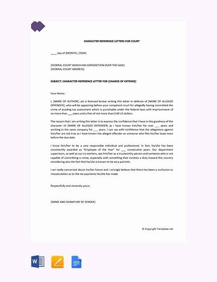 Court Letter format Unique 11 Court Character Reference Letter Samples Pdf Doc