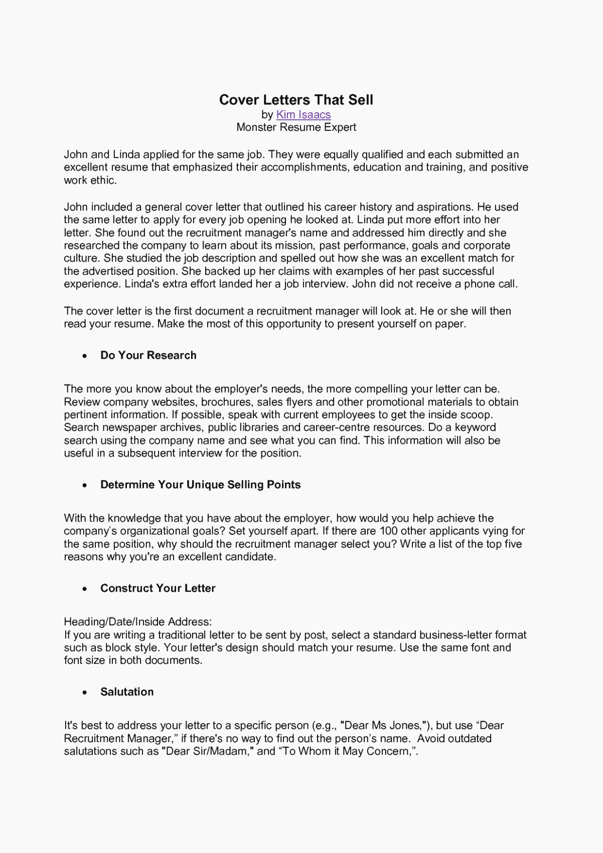 Cover Letter for Kroger Beautiful Five Reasons why Monster