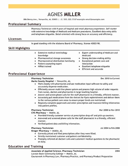 Cover Letter for Kroger Elegant Pharmacy Technician Resume Examples