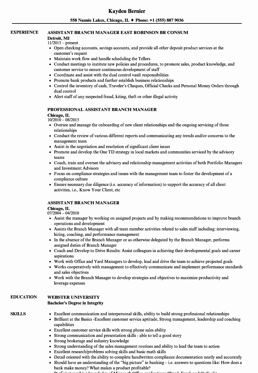 Cover Letter for Kroger Inspirational assistant Branch Manager Resume Samples
