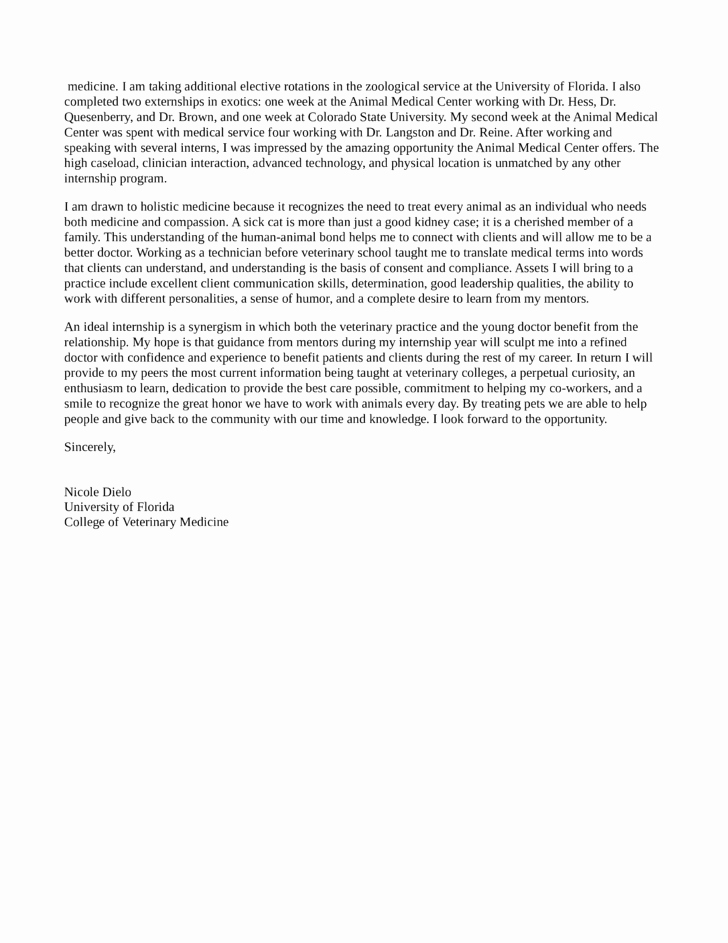 Cover Letter format Uf Awesome Rotating Small Animal Medicine and Surgery Internship