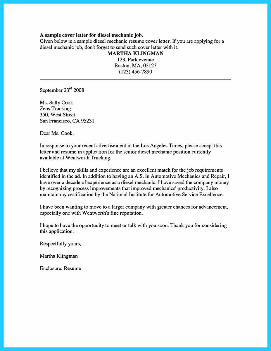 Cover Letter format Uf Awesome Sel Mechanic Resume Search