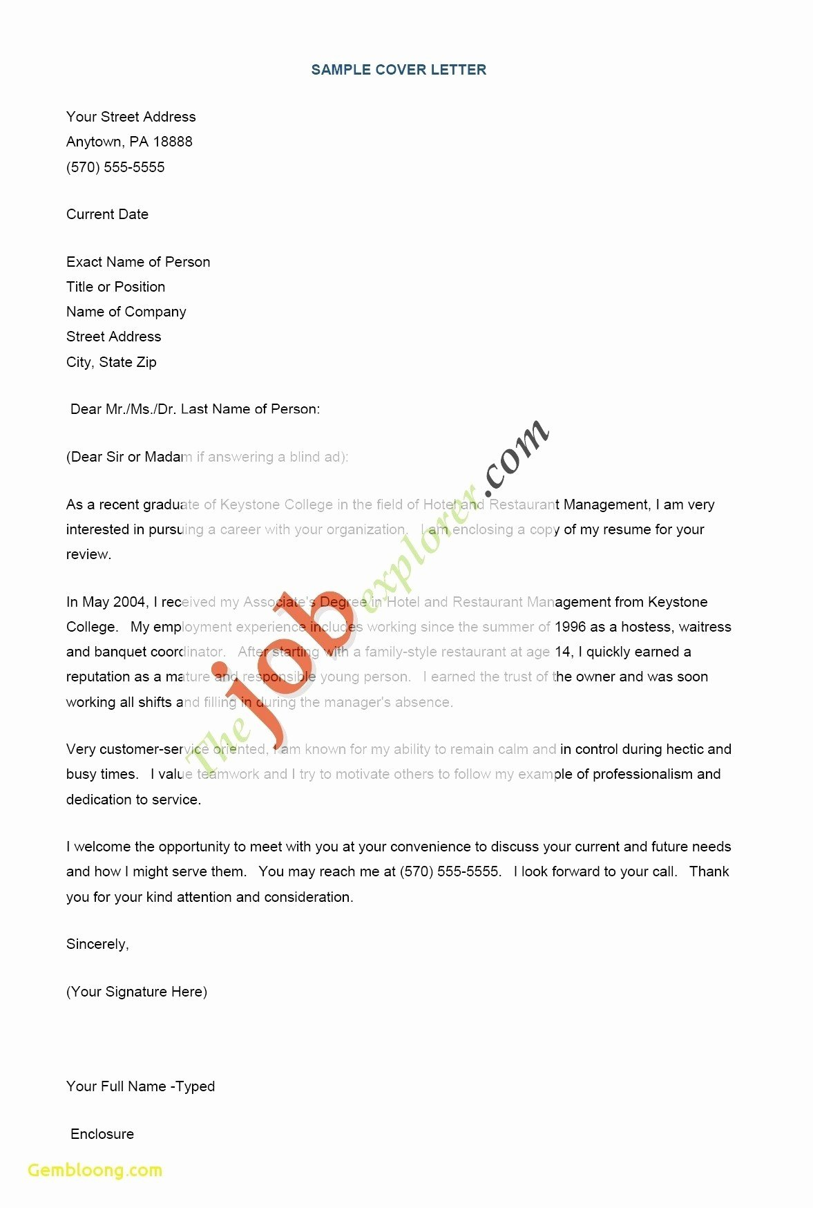 Cover Letter Hospitality Management Elegant Example Application Letter for Hotel and Restaurant