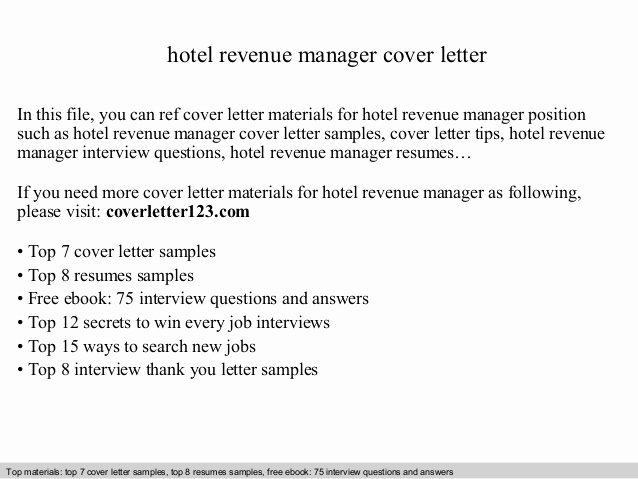 Cover Letter Hospitality Management Inspirational Hotel Revenue Manager Cover Letter