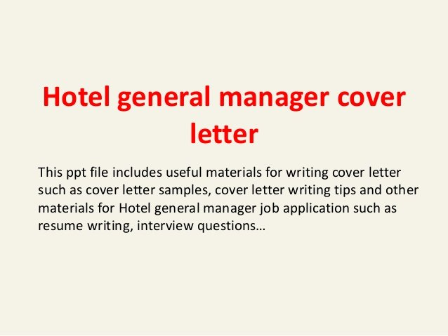 Cover Letter Hospitality Management Unique Hotel General Manager Cover Letter
