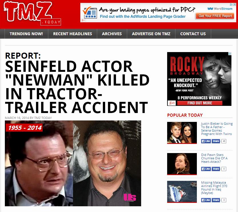 Create A Fake Obituary Unique Wayne Knight Death Hoax Pranksters Create Fake Tmz