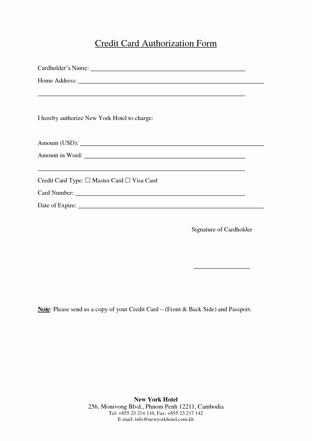 Credit Card Authorization form Word Fresh Credit Card Authorization form Template Word Best Business