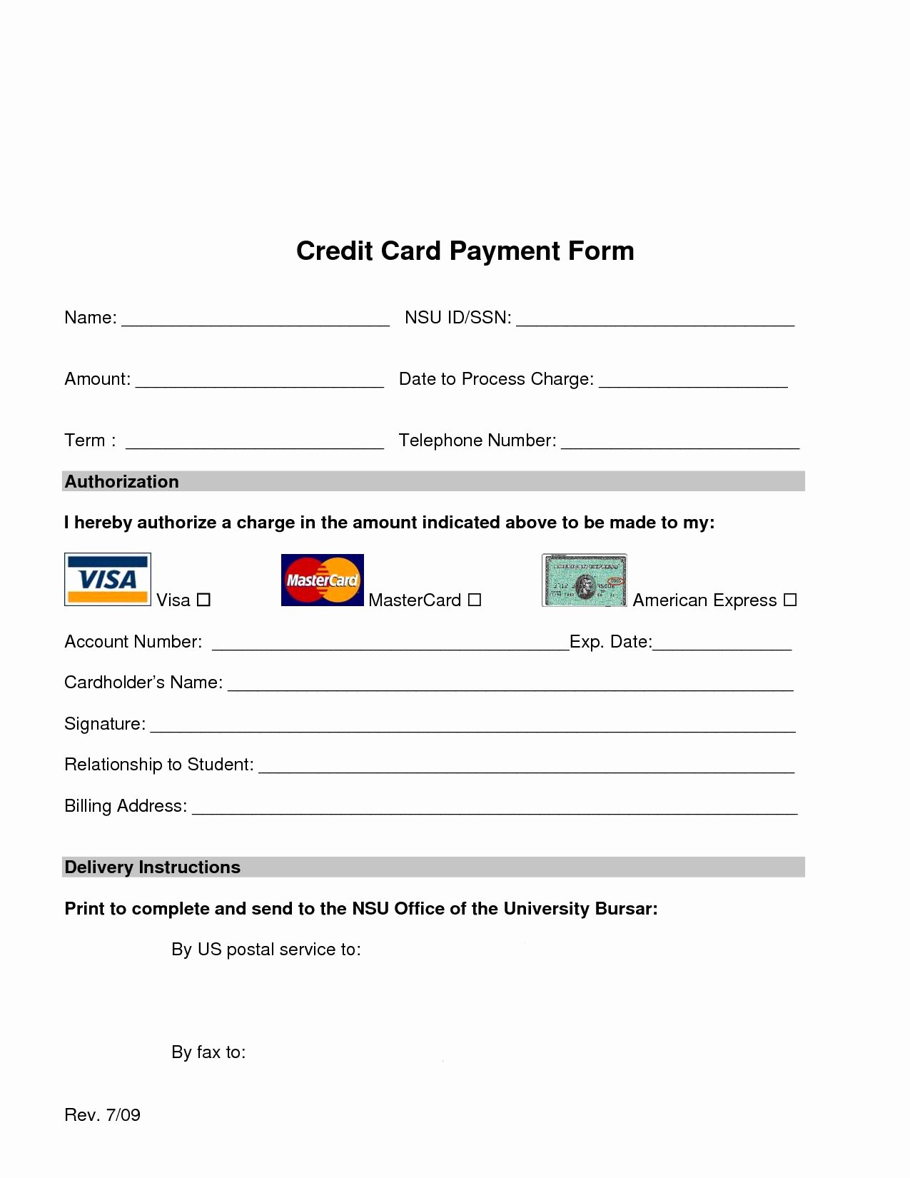 Credit Card Authorization form Word Fresh Credit Card Processing form Web Design