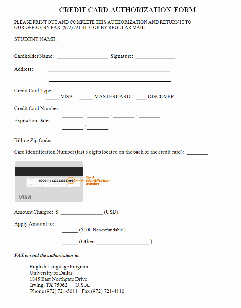Credit Card Authorization form Word Inspirational Credit Card Authorization form Template