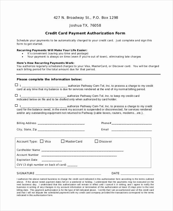 Credit Card Authorization form Word Inspirational Credit Card Authorization form Template Word