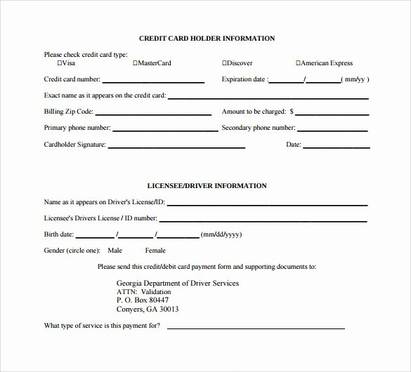 Credit Card Authorization form Word New Credit Card Authorization form 9 Download Free