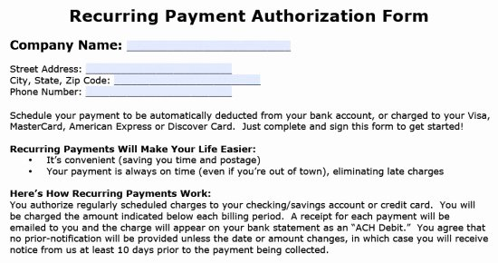 Credit Card Authorization form Word New Download Recurring Payment Authorization form Template
